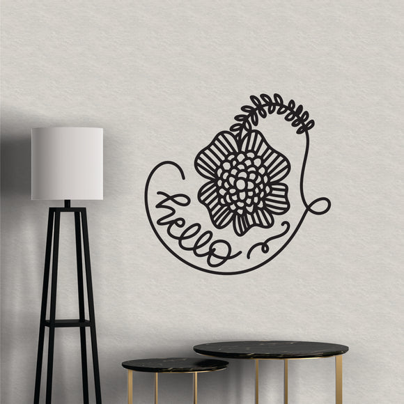 Hello Flower Vinyl Wall Art