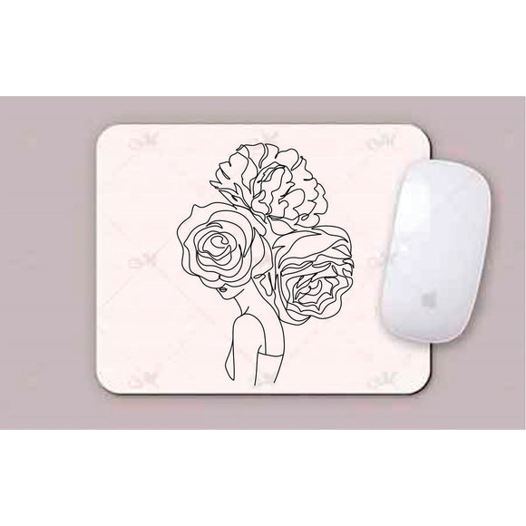 Face With 3  Large Flowers Line Art Mouse Pads