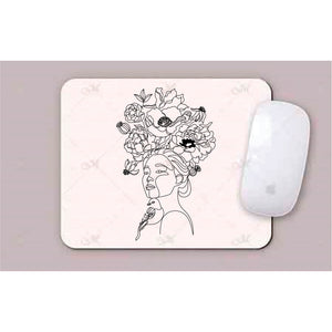 Girl With Bird And Flowers Line Art Mouse Pads