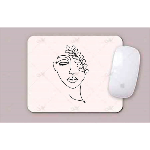 Face With Leaves Line Art Mouse Pads