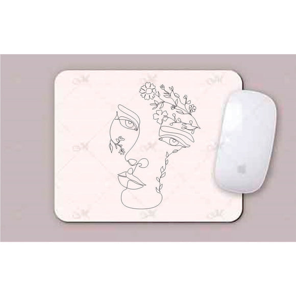 Face With Leaves And Flowers Line Art Mouse Pad