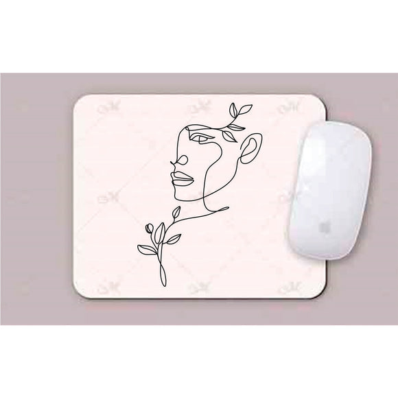 Face,Shoulder & Hair Leaves Line Art Mouse Pads