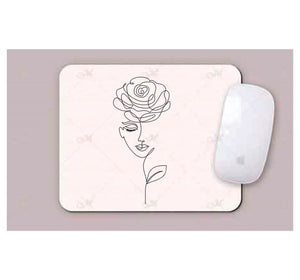 Face With Rose Line art Mouse Pads