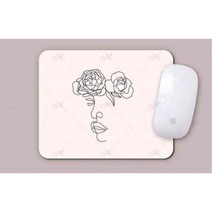 Face with Roses Line Art Mouse Pad