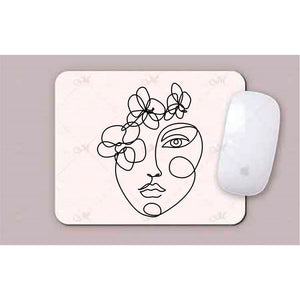 Face With Simple  Lines Line Art Mouse Pad