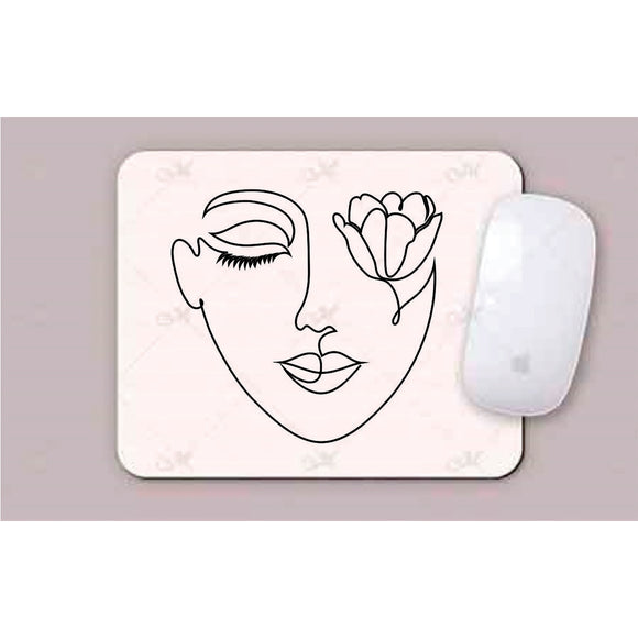 Face With Tulip Line Art Mouse Pad