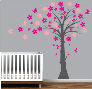 Nursery With Coloured Leaves Vinyl Wall Art