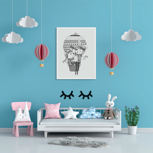 Rabbit And Bear In Hot Air Balloon Sketch Art Print