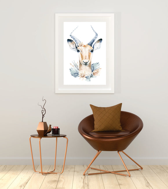 Watercolour Antelope  Art Print