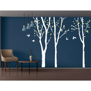 Birch Tree With Leaves Vinyl Wall Art