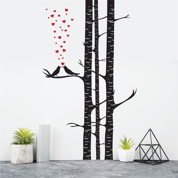 Birch Tree With Love Birds  Vinyl Wall Art