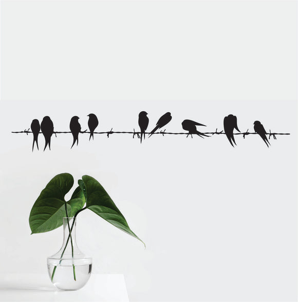 Birds On A Barbed Wire Vinyl Wall Art