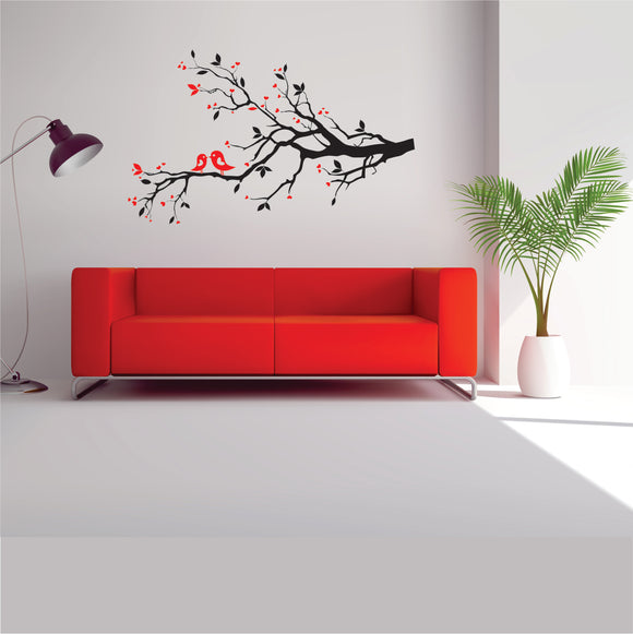 Branch With Love Birds Vinyl Wall Art