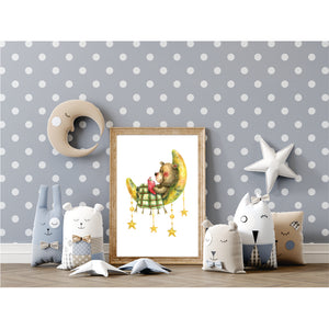Teddy Reading On Moon Art Print