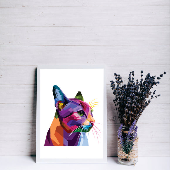 Colourful  Cat Art Print