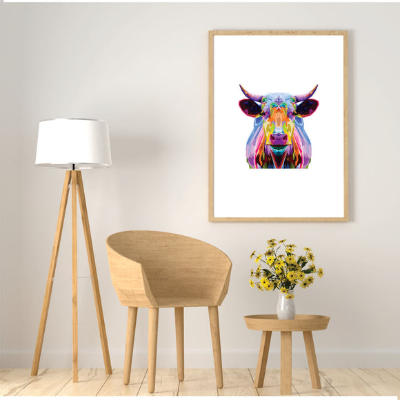 Colourful Bull Art Print