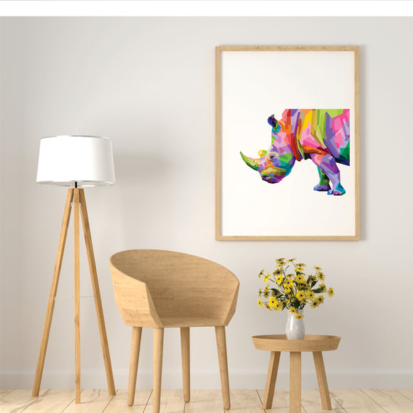 Colourful Rhino  Art Print