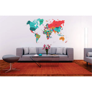 Colourful Political World Map Printed Vinyl Wall Art