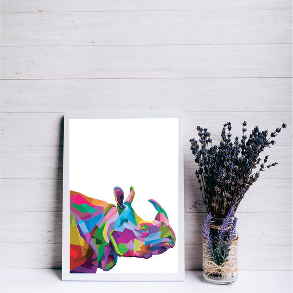 Colourful Rhino Pop Art Print