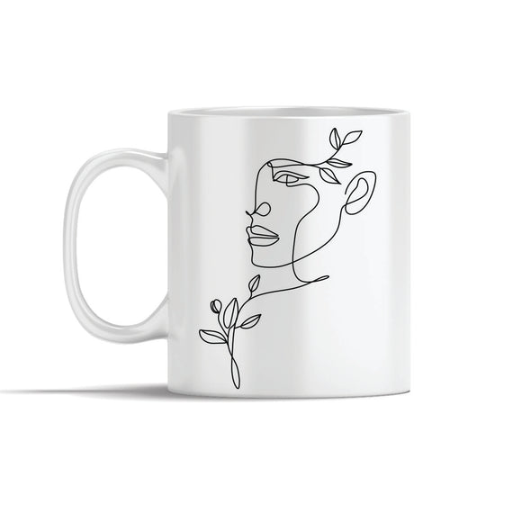 Face, Shoulder & Hair Leaves Line Art Mugs