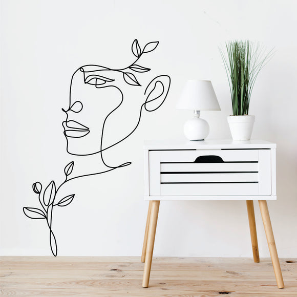 Face, Shoulder, Hair Leaves Art Line Art Vinyl Wall