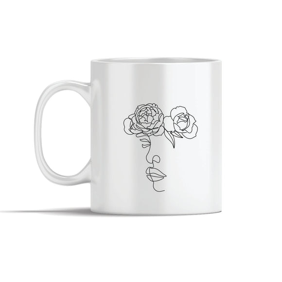 Face With 2 Flowers  Line Art Mug
