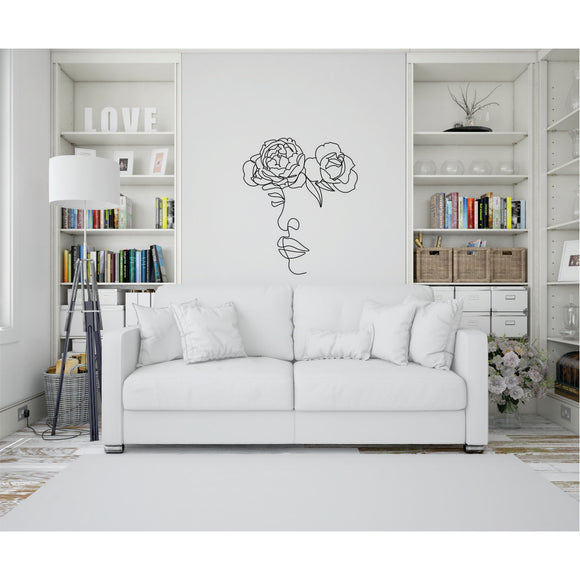 Face With 2 Flowers Line Art Vinyl Wall Art