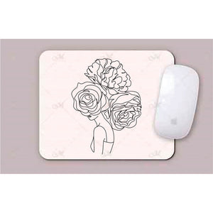 Face With 3 Flowers Line Art Mouse Pad