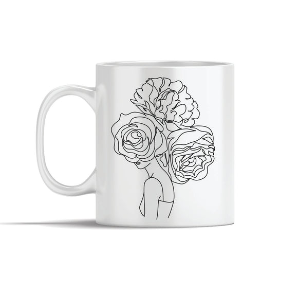 Face With 3 Large Flowers Line Art Mugs