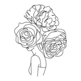 Face With 3 Large Flowers Art Line Art Vinyl Wall