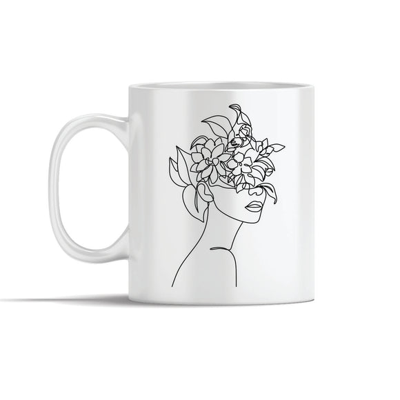 Face With Flowers  Line Art Mugs