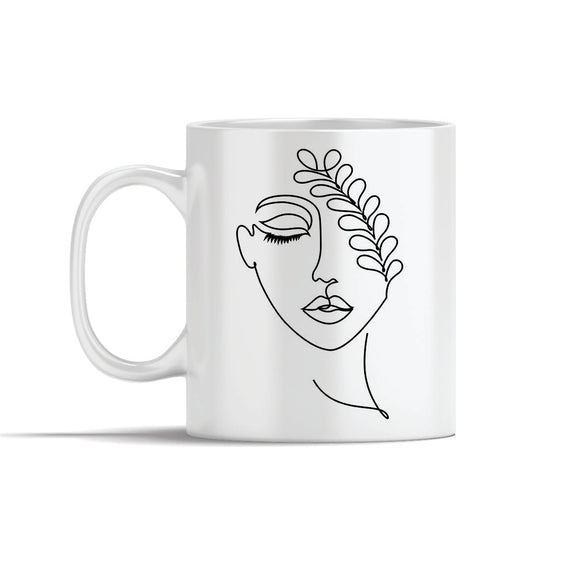 Face With Leaf Line Art Mug