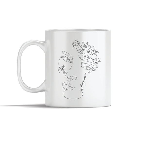 Face With Leaves And Flowers Line Art Mugs