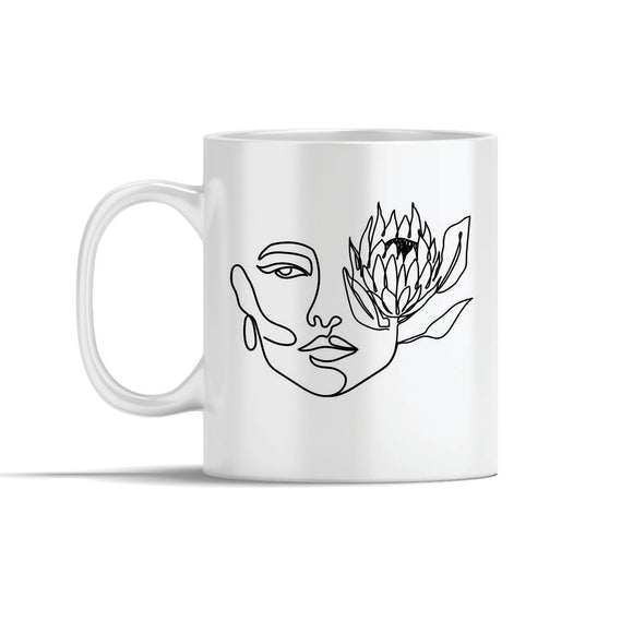 Face With Protea  Line Art Mug
