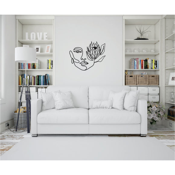 Face With Protea Line Art Vinyl Wall Art