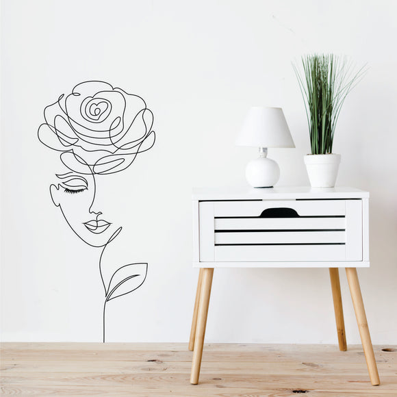 Face With Rose Line Art Vinyl Wall Art