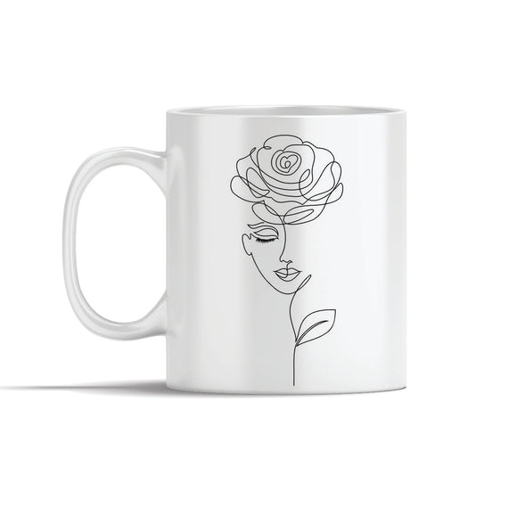 Face With Rose Line Art Mugs