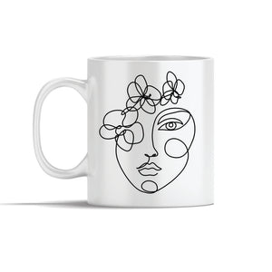 Face With Simple Lines  Line Art Mug