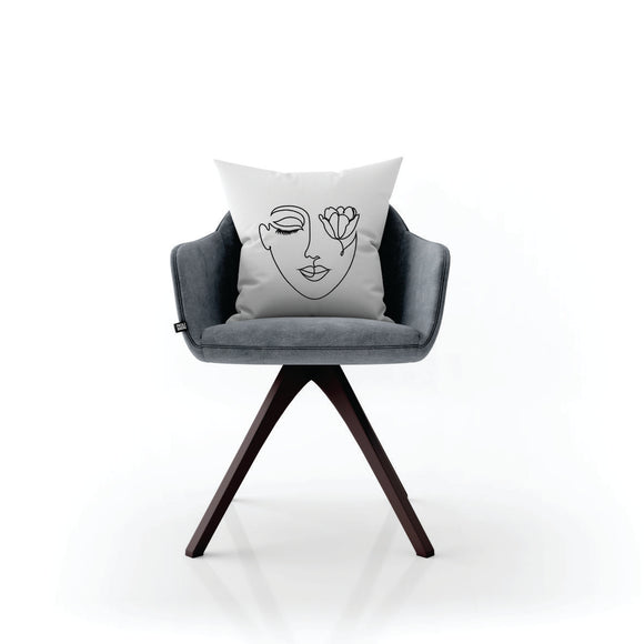 Face With Tulip Line Art Pillow Case