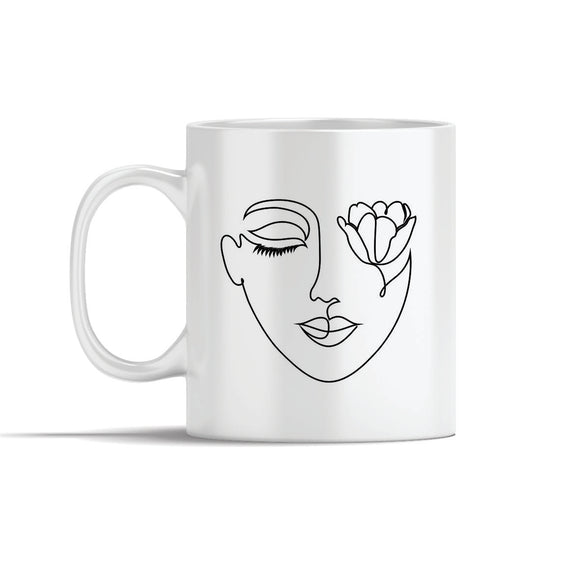 Face With Tulip  Line Art Mugs
