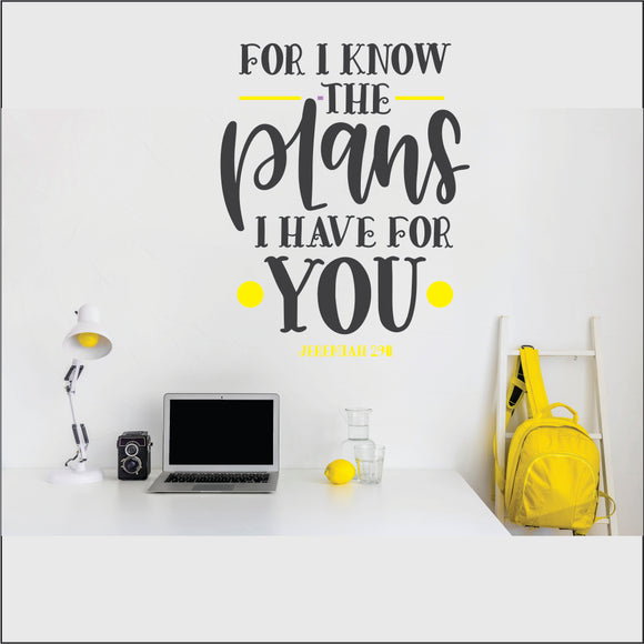 For I Know The Plans Vinyl Wall Art
