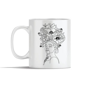 Girl With Bird And Flowers  Line Art Mug