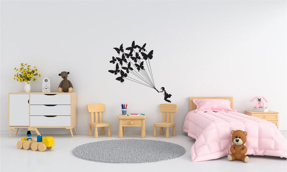 Girl With Butterflies Vinyl Wall Art