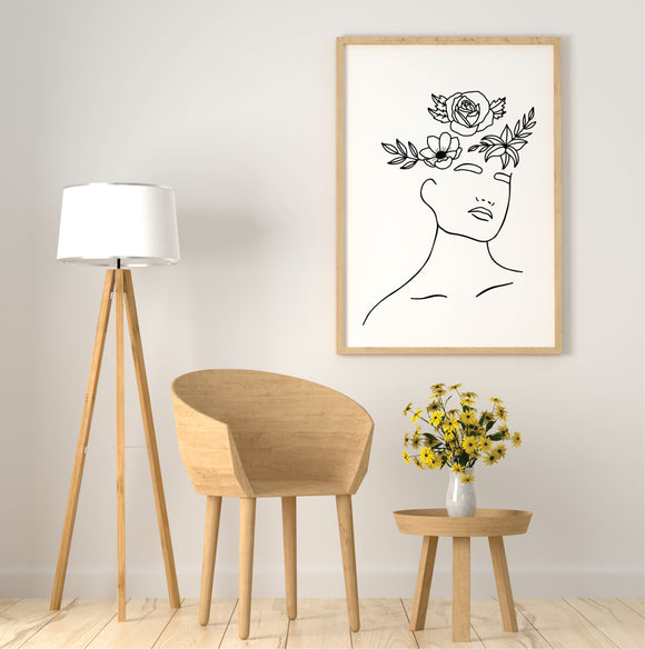 Head With  Flowers Line Art Print
