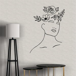 Head With Flowers Vinyl Wall  Line Art