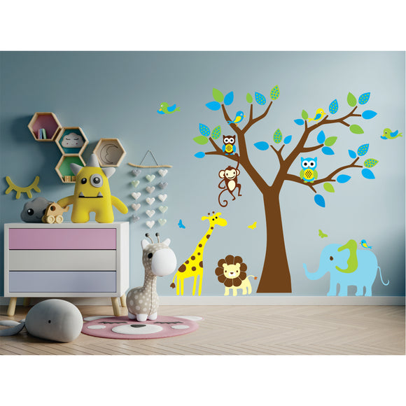Jungle Tree With Animals Vinyl Wall Art