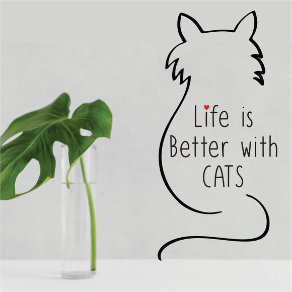 Life Is Better With Cats Vinyl Wall Art