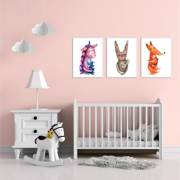 Mother And Baby Unicorn, Rabbit And Fox Art Prints