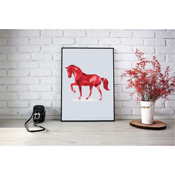 Red Geometric Horse  Art Print
