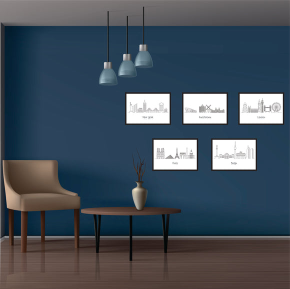 Skylines Art Prints Set